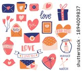 big collection of love objects...   Shutterstock . vector #1894009837