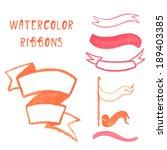 watercolor set ribbon. vector... | Shutterstock .eps vector #189403385