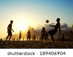sunset silhouettes playing... | Shutterstock . vector #189406904