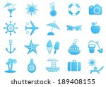 blue vector summer icons...   Shutterstock .eps vector #189408155