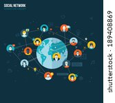 flat design concept for social... | Shutterstock .eps vector #189408869