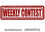 stamp with text weekly contest... | Shutterstock .eps vector #189409931