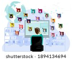 meeting  online during covid 19 ... | Shutterstock .eps vector #1894134694