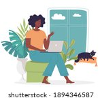 cute young woman works online... | Shutterstock .eps vector #1894346587