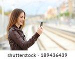 happy woman browsing social... | Shutterstock . vector #189436439
