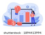 positive tiny woman investing... | Shutterstock .eps vector #1894413994