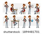 cartoon flat funny bearded... | Shutterstock .eps vector #1894481701