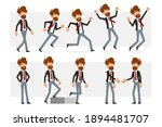 cartoon flat funny bearded... | Shutterstock .eps vector #1894481707