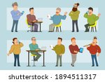 cartoon flat funny fat smiling... | Shutterstock .eps vector #1894511317