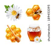 Honey Food Decorative Icons Se...