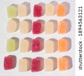 Small photo of Macro photo of multi-colored marmalade jelly candy's. The sweetness of jelly candy. Different marmalade colorful fruit jelly sugar candies.