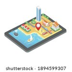vector isometric gps map.... | Shutterstock .eps vector #1894599307