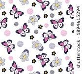 butterflies with daisies...   Shutterstock .eps vector #1894615294
