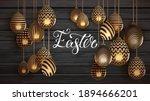 3d golden egg patterned easter... | Shutterstock .eps vector #1894666201