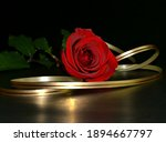 The Studio Red Rose With Golden ...