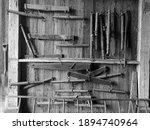 Farm Tools In An Old Barn