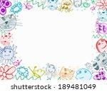 child scribbles drawings frame...   Shutterstock . vector #189481049