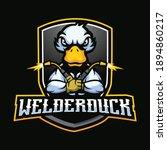 welder duck mascot cartoon logo ... | Shutterstock .eps vector #1894860217