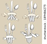 fork  knife  spoon hand drawing ... | Shutterstock .eps vector #189486275