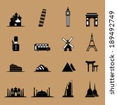 Tourist landmark location icons set - stock vector