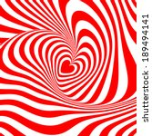 Design heart whirl rotation illusion background. Abstract stripy distortion twisted backdrop. Vector-art illustration