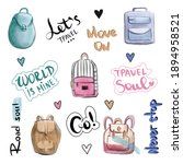 travelling stickers  hand drawn ...   Shutterstock . vector #1894958521