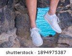 Defocused Human Male Legs Of...