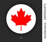 canada circle flag with shadow... | Shutterstock .eps vector #1895054371