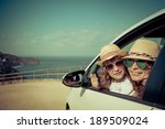 happy family in the car. summer ... | Shutterstock . vector #189509024