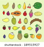 tropical fruits. hand drawn... | Shutterstock .eps vector #189515927