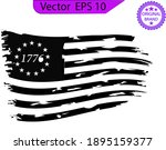 scratched betsy ross flag.... | Shutterstock .eps vector #1895159377