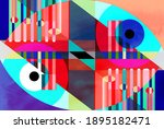 color watercolor retro... | Shutterstock . vector #1895182471