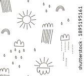 doodle linear rain cloud sun... | Shutterstock .eps vector #1895195161