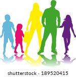 family silhouettes | Shutterstock .eps vector #189520415