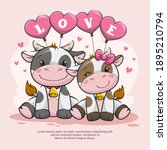 Couple Love Of Cute Cow With...