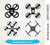 Illustration with different quadrocopters icons in minimal style