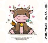 Cute Bull With Flower In Love ...