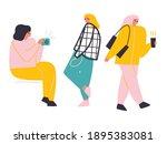 Diverse Women Outdoor Cartoon...