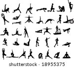 yoga and exercise silhouettes | Shutterstock .eps vector #18955375
