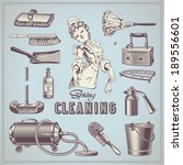 spring cleaning   set of hand... | Shutterstock .eps vector #189556601