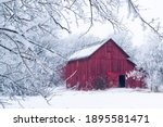 Red Barn With Soft Focused  Ice ...