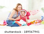 happy mother and baby girl with ... | Shutterstock . vector #189567941