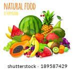 natural organic fruits and... | Shutterstock .eps vector #189587429