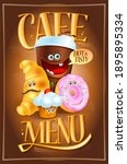 dessert cafe menu design with... | Shutterstock . vector #1895895334