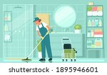 cleaning service. a woman... | Shutterstock .eps vector #1895946601
