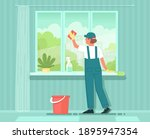 cleaning service. a woman... | Shutterstock .eps vector #1895947354