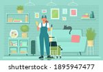 cleaning service. female... | Shutterstock .eps vector #1895947477