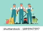 cleaning service. team of happy ... | Shutterstock .eps vector #1895947597