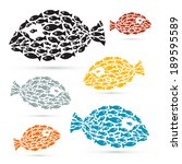 colorful fish shaped abstract... | Shutterstock . vector #189595589