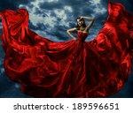 woman in red evening dress ... | Shutterstock . vector #189596651